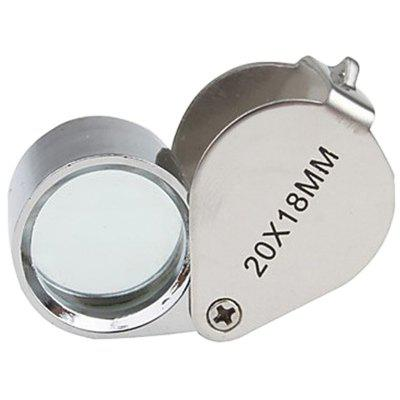 20 x 18mm Mini Identification High Magnification 1 Magnifier Jewelry Portable Full Stainless Steel Folding Magnifying Glass
