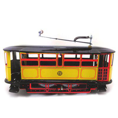 Nostalgic Retro Tin Clockwork Tram Toy Home Bar Decoration