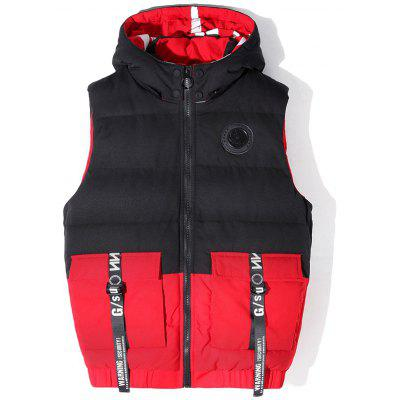 Thick Warm Splicing Hooded Sleeveless Vest Men Winter Coat