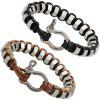 Outdoor Iron Ring Copper Buckle Hand-woven Survival Bracelet - BROWN