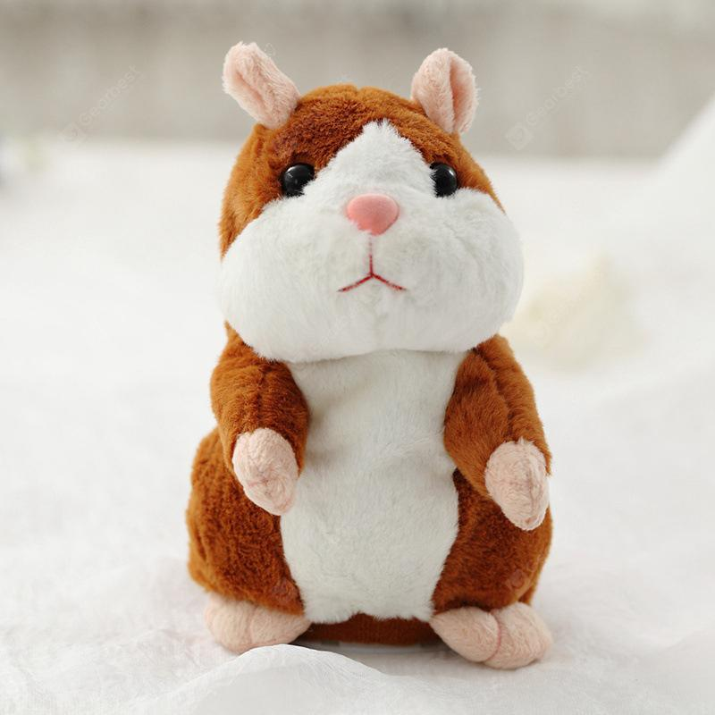 Electric Hamster Doll Talking Plush Toy - BROWN