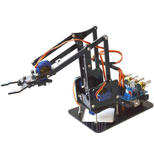DIY Robot Arm Kit Educational Robotic Claw Set - MULTI SCREWS + ASSEMBLED ACCESSORIES + SERVOS + MOTHERBOARD CONTROLLER
