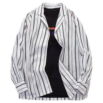Chaolongjushang Men's Shirts Vertical Stripes