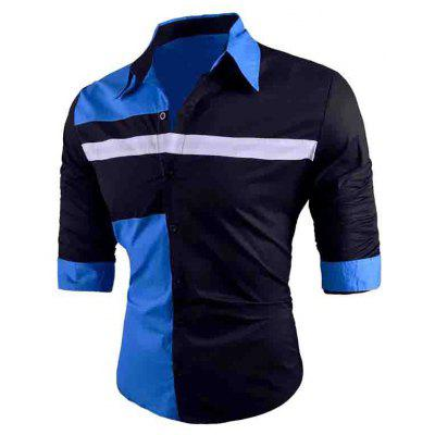 Men's Fashionable Matching Color Slim Fit Shirt