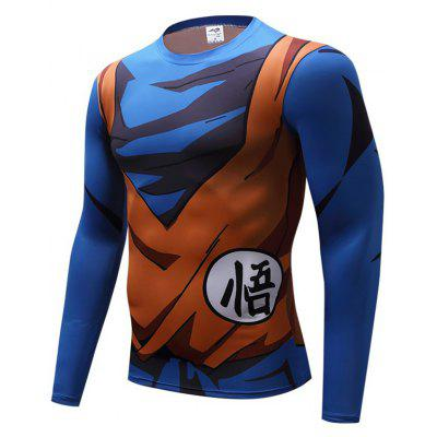 Men Long Sleeve T-Shirt 3D Print Compression Sports Fitness Tight