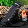 GANZO G7452 - BK - WS Camping Axis Lock Folding Knife with Whistle - BLACK