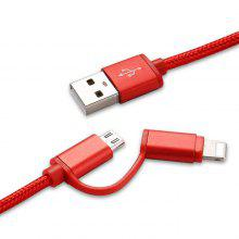 Two in One Nylon Braided Metal Data Cable for iPhone and Android