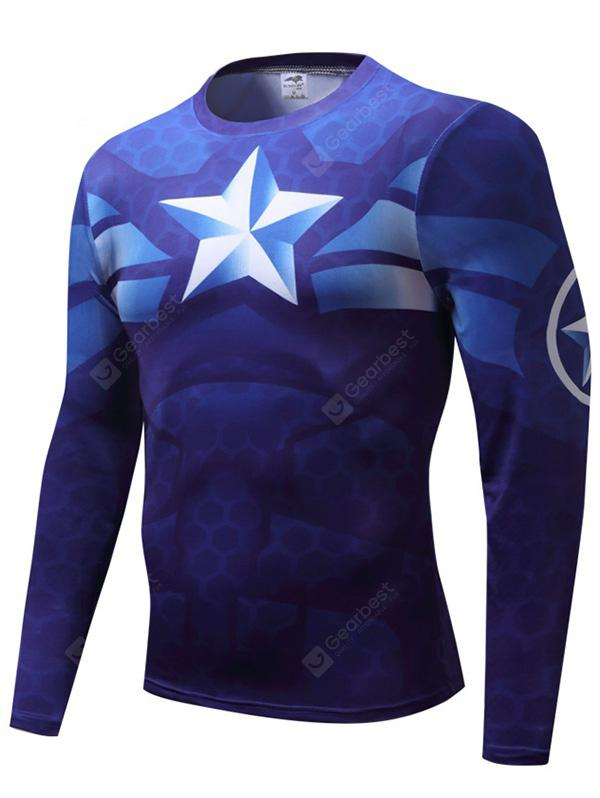Cartoon Summer Clothes Men T-shirt Sports Compression Quick-drying Suit Long-sleeved Tight - BLUE XS from Gearbest Image