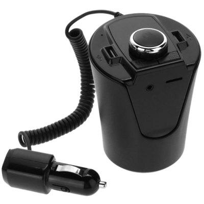 BX6 Car Cup Holder Bluetooth Hands-free FM Transmitter MP3 Player USB Charger