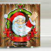 Santa Claus On The Wooden Board Shower Curtain - MULTI