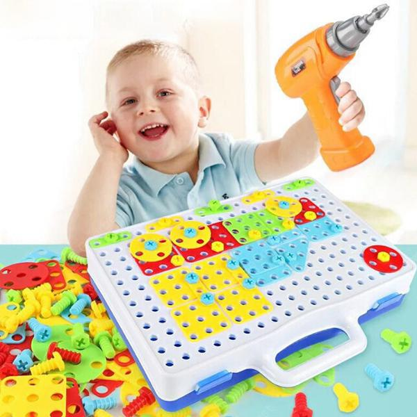Assembled Building Blocks Electric Drill Toy for Kids - MULTI-A