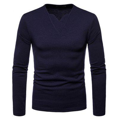 Men Plus Velvet Warm V-Neck Long-Sleeved T-Shirt Bottoming Shirt