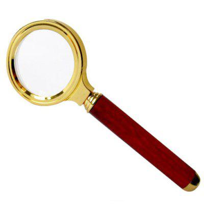 36mm Magnifier 10 Times Gold-plated Side Mahogany Handle Metal Frame Handheld Magnifying Glass