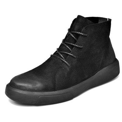 Men Comfortable Boots Stylish High-top Lace-up Warm Shoes