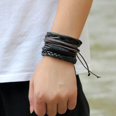 Retro DIY Woven Leather Men Bracelet 4pcs
