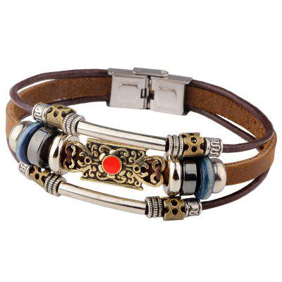 Vintage Woven Leather Rope Alloy Beaded Bracelet