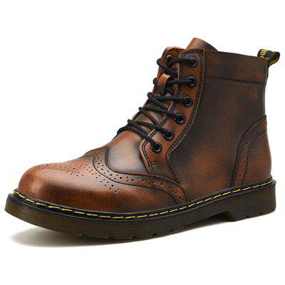 Men Warm Comfortable Boots High-top Lace-up Durable