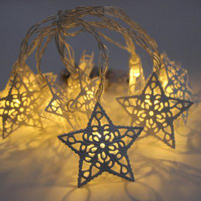 Wrought Iron Five-pointed Star Battery Style String Light for Christmas Decoration