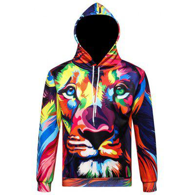 Creative Lion Printing Hooded Sweater