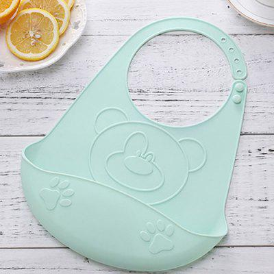 Cartoon Bear Kids Silicone Bib Children Adjustable Waterproof Feeding Tools Crumb Catcher