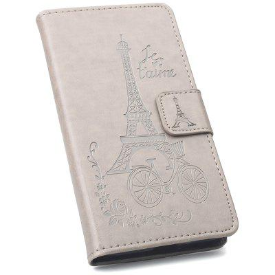 Full Covered PU Phone Case with Tower Print for LG G7