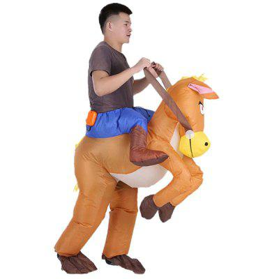 Halloween Carnival Party Cowboy Rider on Horse Inflatable Costume Outfit for Adult