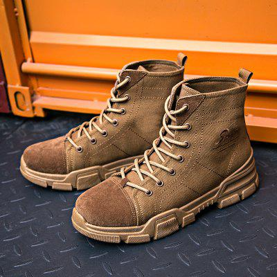 Men High-top Boots Comfortable Canvas Lace-up Durable