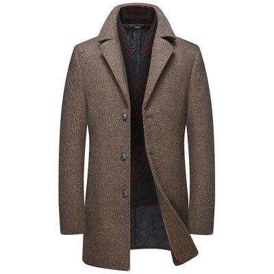 Men Thick Lapels Scarf Collar Wool Woolen Coat