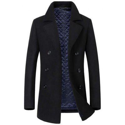 Laine manteau plus coton hommes longue section revers affaires occasionnels