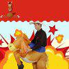 Halloween Carnival Party Cowboy Rider on Horse Inflatable Costume Outfit for Adult - TAN