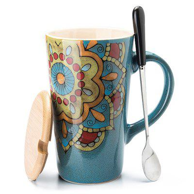 Ceramics Mug with Cap Scoop Creative Classical Water Coffee Cup