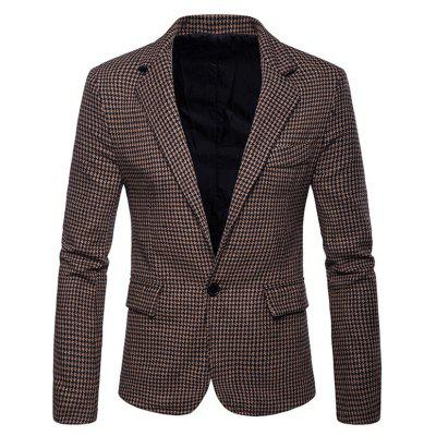 Men Large Size Plaid Suit Jacket
