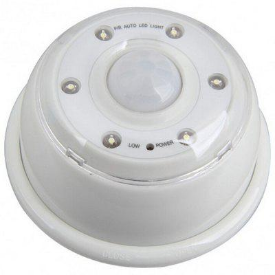 6 LED Round Infrared Human Body Induction Cabinet Night Light