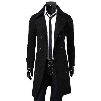 Men's Wool Blend Double Breasted Thickening Trench