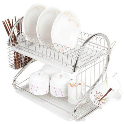 304 Stainless Steel Kitchen Double-layer Dish Rack