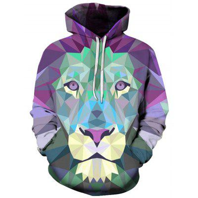 Men's Hoodies 3D Printing Fashion Purple Lion