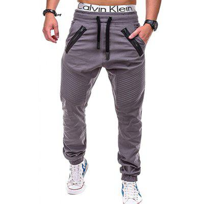 Men's Casual Pants Sports Striped Zipper Trousers