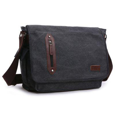 ZUOLUNDUO Shoulder Messenger Bag Fashion Casual Men Canvas Travel Solid Color Student Bag