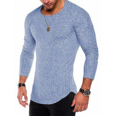Men Comfortable Sweater Solid Color Long Sleeve Tee