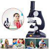 100X / 200X / 450X Adjustable Focus Science Teaching Microscope Teaching Optical Instrument Children Science Experiment Early Education - BLACK