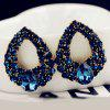 A4203 Hollow Water Drops Pendientes Diamantes Pendientes Salvajes 2pcs - AZUL DE MEDIANOCHE