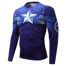 40da2934 Cartoon Summer Clothes Men T-shirt Sports Compression Quick-drying Suit  Long-sleeved