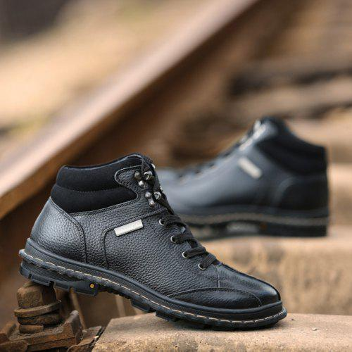 Men Comfortable Lace-up Casual Leather Cotton-padded Boots