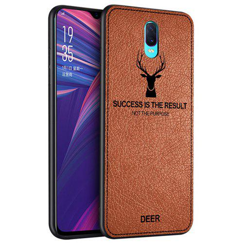 TPU Soft Side Line Cloth Pattern Anti-fingerprint Shatter-resistant Leather Phone Case for OPPO R17 Pro