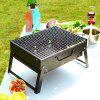 Outdoor Folding BBQ Grill Charcoal Stove Portable Household Oven - BLACK