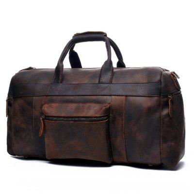 Travel Bag Portable Large Capacity Retro Men Bag Leather Hand Luggage Bag ede86ca2c116c