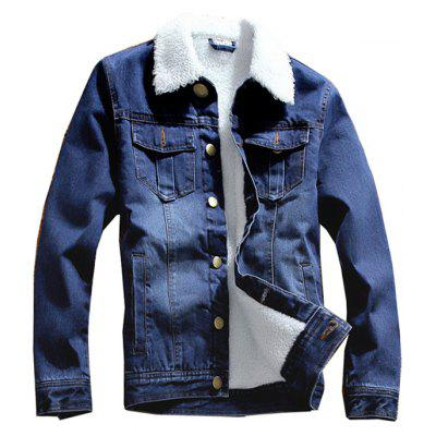 Hombres Denim Jacket Winter Brushed