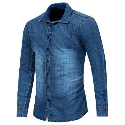 Men's Long Sleeve Printed Washed Denim Shirt