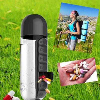 2-in-1 Outdoor Portable Water Bottle with Pill Box Cup
