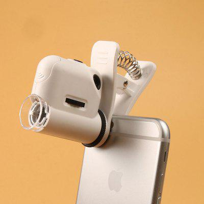 Portable High Magnifier with Mobile Phone Clip + LED Light